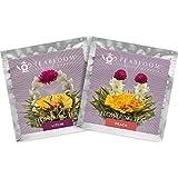 'Blühende Teeblumen - Litschi & Pfirsich Blütentees – Handgebundene blühende Teekugeln - Jede Teeblüte kann mehrfach verwendet werden (2er-Pack) '