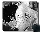 Gaming Mouse Pad Benutzerdefinierte, Stare Wildlife Raubtier Wolf für Computer Rutschfeste Gummi-Mauspad