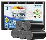 XUXRUS Müllbeutel, 5 l, robust, langlebig, schwarz, blickdicht, für Badezimmer, Küche, Schlafzimmer, Büro, Sichtschutz (120 Stück, 5 Rolle)