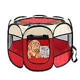 GeKLok Faltbares Haustier-Zelt, tragbares faltbares Haustier-Laufstall, 8 Paneele Netzhaus, Welpenlaufstall, Hundehütte für Hund, Katze, Kaninchen (Reisrot)