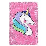 Kreatives Einhorn-Notizbuch, A5, wendbares Pailletten-Tagebuch, Tagebuch für Kinder, Mädchen, Geschenke (rosarot)