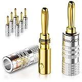deleyCON 8X Bananenstecker als Set Vergoldet Schraubbar für Lautsprecherkabel 0,75mm - 4mm & z.B. HiFi R