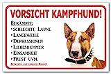 AdriLeo Schild - Vorsicht Bullterrier - Kampfhund - (30x40cm) / Hellbraun/weiß - Achtung Hund Wachhund