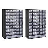vidaXL 2x Kleinteilemagazin mit 41 Fächern Kunststoff Sortimentskasten Ordnung