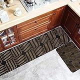 OPLJ Geometrische Küchenmatte Verschleißfest Schmutziger Boden Fußmatte Badezimmer Rutschfestes Zuhause Dekoratives Schlafzimmer Nachttischmatte A3 40x120