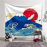 YYRAIN Nordische Farbe Berg Und Meer Digitaldruck Wandteppich Home Wandkunst Geschenk Wandteppich Kinderzimmer Dekoration 59x52 Inch{150x130cm} E