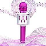 Olycism Karaoke Mikrofon Drahtloses Bluetooth Mikrofon für Kinder mit tanzenden LED-Lichtern und magischen Klängen Kompatibel mit Android IOS PC Tragbares KTV Lautsprecher Recorder lila