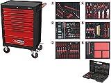 KS Tools 897.7598 ECOline SCHWARZ/ROT Werkstattwagen, mit 598 Premium-Werkzeugen in 6 Einlagen u. 1/4' Bit-Satz in Box