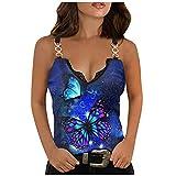 XUNN Damen Tops Sommer Mode Sexy V-Ausschnitt Schmetterling Print Ärmelloses Spitzen T-Shirt Bluse Cami Tank Top