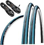 GORIX Rennrad-Reifen 700 × 23 C oder 700 × 25 C (2 Reifen + 2 Schläuche) Fahrrad (Gtoair Edition) (schwarz × blau, 700 × 23 C)