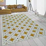 Paco Home In- & Outdoor-Teppich Mit Retro-Design Balkon Terrasse 3D-Web-Art In Gelb Beige, Grösse:160x230 cm