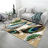 Kunsen Teppich vorzimmer Wohnzimmer Brauner Teppichgrünen Green Feder-Druck Weiche kann maschinell Sein spielteppich Baby deko Schlafzimmer 140x200cm 4ft 7.1' X6ft 6.7'