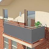 BALCONIO Balkon Sichtschutz wasserabweisend Balkonbespannung Balkonabdeckung für Balkon Terrasse aus Polyester-Hellgrau-500 x 85