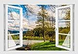 Skins4u Waldsee Natur Wandtattoo Wandaufkleber Wandsticker Wandbild Farbe bunt Druck Sk7012 Größe 100cm x 70