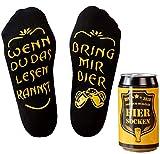 Top-Geschenk24.de Bier Socken Herren, Bier Geschenk für Männer, Weihnachtsgeschenk, lustige Socken m. Wenn Du das Lesen Kannst bring mir Bier, Geburtstagsgeschenk, 37- 44, Schw