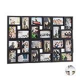 Relaxdays XXL Bilderrahmen Collagen für 24 Bilder in 10 x 15, Hoch- oder Querformat, Kunststoff, HxB 57 x 86 cm, schwarz
