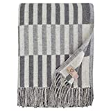 Linen & Cotton Luxus Warme Merino Decke Wolldecke Wohndecke Kuscheldecke FRANS - 100% Weicher Merinowolle, Grau (140 x 200cm), Sofadecke/Tagesdecke/Überwurf/Plaid Couch Sofa/Blanket Schurwolle