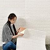 DHOUTDOORS 10 Tlg Tapete Selbstklebend Wandpaneele Weiß Steinoptik Ziegelstein Brick Muster 3D PE-Schaum Wasserdicht 60x60cm Schnelle Leichte Montage Kinderzimmer Schlafzimmer Wohnzimmer S