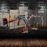 WDADA 5 Teilig Wandbild 5 Stück Leinwand Bilder AK-47 Gun Anatomy 5 Teiliges Wandbild Schlafzimmer Bild Auf Leinwand Abstrakt XXL 5 Teilig Modern FüR Wohnzimmer Mit Rahmen150x80cm