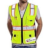 Dib Safety Sicherheitsweste Reflektierendes gelbes Netz, Warnweste mit Taschen und Reißverschluss, hergestellt mit 3M reflektierendem Klebeband L