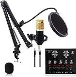 HCFSUK BM 800 Mikrofon Kit Kondensator Computer Cardioid Mic für Podcast Spiel YouTube Video V8 Live Sound Card Set, Stream Aufnahme Musik Stimme über Kondensator-Mikrofon-S