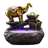 YHshop Desktop/Tischbrunnen 13,8'H Elephant Desktop Fountain mit Zerstäuber Innenbrunnen
