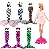 Miunana 4 Set Random Bikini Meerjungfrau Kleidung Kleider Regenbogen Mermaid + 1 Mantel + 1 Fisch Schwanz für 11,5 Zoll Mädchen Puppen