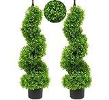 momoplant Künstliche Buchsbaum-Spirale, Buchsbaum, Buchsbaum, Buchsbaum, Formschnitt, künstlich, für den Außenbereich, 2 Stück