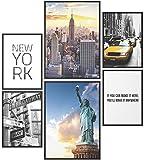 Papierschmiede® Mood-Poster Set New York   Bilder als Wanddeko   Wohnzimmer & Schlafzimmer   2X DIN A2 und 4X DIN A3   Freiheitsstatue USA America - ohne Rahmen