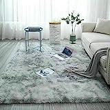 Catalpa Blume Teppich in Silbergrau Hochflor Shaggy Teppiche Langflor Wohnzimmer Pflegeleicht 160x230
