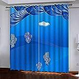 MENGBB Blickdicht Vorhang Kinderzimmer Mikrofaser 230x180cm Mode Blaupause Ösen 95% Blickdicht Gardinen Mädchen Junge Schlafzimmer Wohnzimmer dekorativ