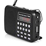 Tragbarer MP3-Player-Lautsprecher mit UKW-Radio, LED-Taschenlampe, Unterstützung für TF-Karte / U-Disk / USB, Wiederaufladbarer Lithium-Ionen-Akku, Klarer Lautsprecher-Musik-Player für ältere Menschen
