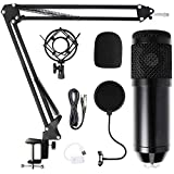 Komake Mikrofon Kondensator Microphone Kit,Kondensator Mikrofonsets mit Metallarm-&Stativständer,Kondensator Mikrofon Set für Aufnahme,Podcasting,Voice-Over, Streaming,Heimstudio,YouTube