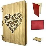 Grußkarte aus Holz als große Hochzeitskarte & Geschenkkarte - Bambuskarte mit Herzen ca. A5 Format - Set mit Einlagepapier, Briefumschlag & Probestück