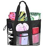 VBIGER Strandtasche Groß XL Badetasche-Netz Strandtaschen mit Reißverschluss-Sommer Tasche Shopper Damen Taschen für Strand|Picknick|Urlaub|Reise