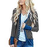 XOXSION Damen Mantel Mode Sommer Lässig Gestreifte Outwear Steppnähte Langarm Strickjacke Oberteile Fit Elegant Jacke Geschäft(Blau,M)