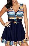 EUDOLAH Damen Paisley Muster Bunt Tankini Figurformender Badekleid mit Röckchen Einteiler Badeshorts A-Marineblau Gr.4XL