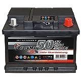 Autobatterie 12V 50Ah 480A/EN BlackMax Starter 30% mehr Leistung ersetzt 36Ah 41Ah 44Ah 45Ah