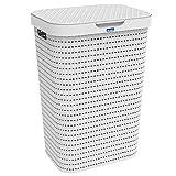 Rotho Country Wäschesammler 55l mit Deckel in Rattan-Optik, Kunststoff (PP) BPA-frei, weiss, 55l (42,0 x 32,2 x 57,7 cm)