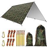 Ryaco Camping Zeltplane, 3m x 4m Tarp für Hängematte, wasserdicht Leicht Kompakt Zeltunterlage Picknickdecke Hammock für Camping Outdoor Plane für Ourdoor Camping MEHRWEG(3m x 4m, Camo)