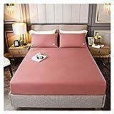 QIANGU Spannbettlaken, rutschfest, atmungsaktiv, bequem, Baumwolle, weich, farbbeständig, für Schlafzimmer (Farbe: Korallenrosa, Größe: 120 x 200 cm)