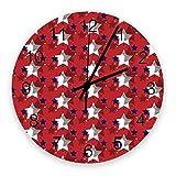 Stille nicht tickende Wanduhr Independence Day Vintage-Stil Amerikanische Flagge mit Pentagrammen Batteriebetrieben , Home Wanddekoration für das Wohnzimmer , Küche , Schlafzimmer und Terrasse 10 Z