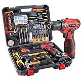 Dedeo Akku-Bohrhammer Werkzeugsatz, 60-teiliges Haushalts-Elektrowerkzeug-Bohrset mit 16,8V Lithium Treiber Klauenhammerschlüsselzangen DIY-Zubehör-Werkzeugsatz