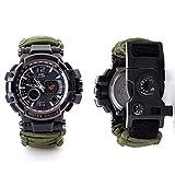 N-B Survival-Armbanduhr, multifunktional, wasserdicht, Notfall-Überlebensausrüstung, inklusive Kompass, Feuerstein, Paracord-Pfeife, Uhr für Outdoor, Wandern, Camping, Jagd,