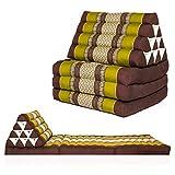 Kitama Dreieckskissen Thaikissen mit 3 Auflagen gefüllt mit Kapok als Liegematte Thaimatte Yogamatte Thaimassage-Matte - Maße 170 x 50cm (Grün-Braun)