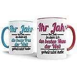 Tassendruck Partner-Tassen Besten Mann, Beste Frau geheiratet / -Ihr Jahr - / Individuell/Selbst gestalten/Liebe/Ehe/Hochzeits-Tag/Geschenk-Idee / 2er Set/Innen & Henkel Rot und Hellblau