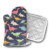 Ofenhandschuhe und Topflappen aus Baumwolle mit Cartoon-Dinosaurier-Motiv, Küchen-Set rutschfestem Neopren-Griff, hitzebeständig, Topflappen, Set für Grillen, Kochen, Backen, maschinenwaschbar.