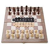 Klappbar Schachbrett, 3-in-1-Schach aus Holz, das Schach, Dame und Backgammon kombiniert, Reiseschach, für Kinder und Erwachsene