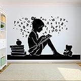 Rhpnyi Bücher Wandaufkleber Mädchen Zimmer Wandaufkleber Schulbildung Zitate Lesesaal Bibliothek Aufkleber Buchhandlung Schlafzimmer Dekoration 96x57cm