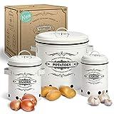 Yukii® NEU - Vorratsbehälter Set mit einzigartiger Belüftung und Rillendesign! Die ideale Kartoffel Aufbewahrungsbox - als Zwiebel Aufbewahrung, Kartoffel Aufbewahrung und Knoblauch Aufbewahrung